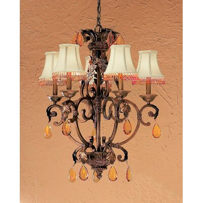 Asheville 6-Light Shaded Chandelier Crystal Type: Oysters Amber