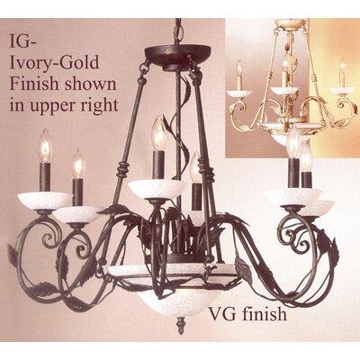 Capri 8-Light Candle-Style Chandelier Finish: Ivory-Gold