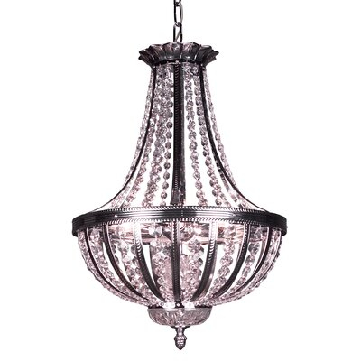 Terragona 6-Light Inverted Pendant Finish: Chrome with Black patina, Crystal Type: Crystalique Plus