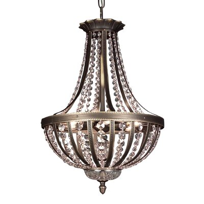 Terragona 6-Light Inverted Pendant Crystal Type: Crystalique Plus, Finish: Roman Bronze