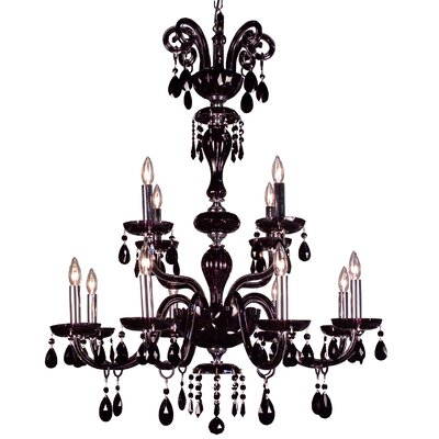 Monte Carlo 12-Light Crystal Chandelier Crystal Type: Crystalique Black