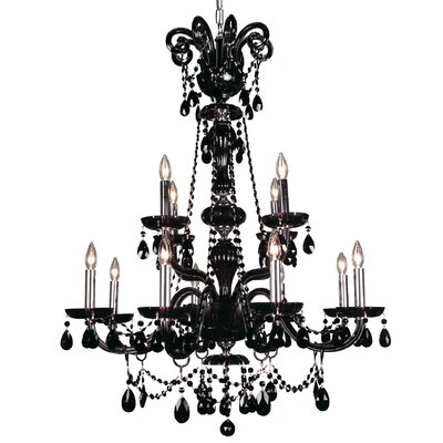 Monte Carlo Elite 12-Light Crystal Chandelier Crystal Type: Crystalique Black