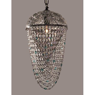 Prague Color 1-Light Foyer Pendant Crystal Type: Crystalique Clear & Antique Green