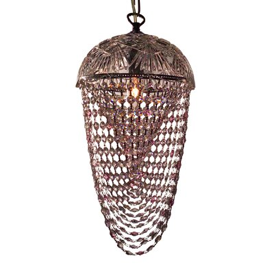 Prague Color 1-Light Foyer Pendant Crystal Type: Crystalique Clear & Pink