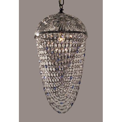 Prague Color 1-Light Foyer Pendant Crystal Type: Sapphire Antique Green