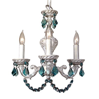 Gabrielle Color 4-Light Crystal Chandelier Finish: Antique White, Crystal Type: Crystalique Antique Green