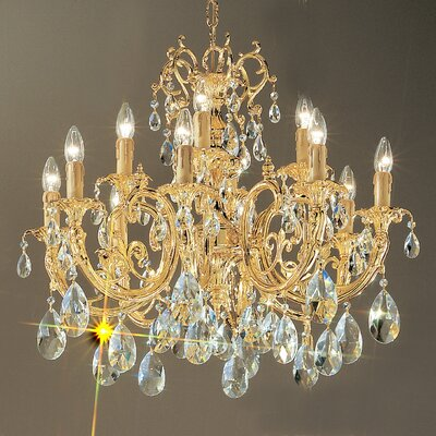 Princeton 12-Light Candle-Style Chandelier Finish: 24K Gold Plate, Crystal Type: Without Crystal