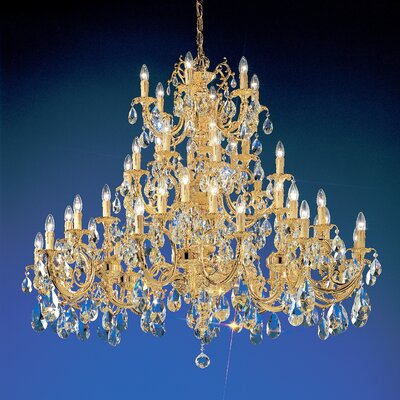 Princeton 48-Light Candle-Style Chandelier Finish: 24K Gold Plate, Crystal Type: Crystalique