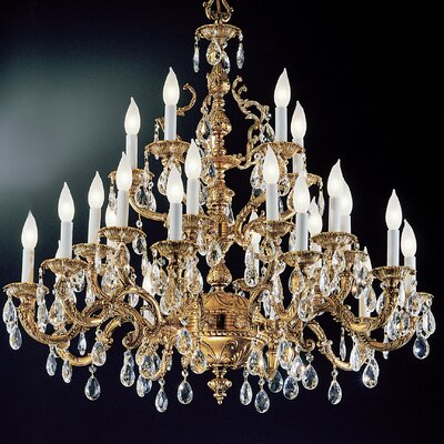 Barcelona 25-Light Crystal Chandelier Crystal Type: Crystalique, Finish: Olde World Bronze