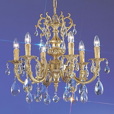 Princeton 6-Light Candle-Style Chandelier Crystal Type: Swarovski Spectra, Finish: Satin Bronze