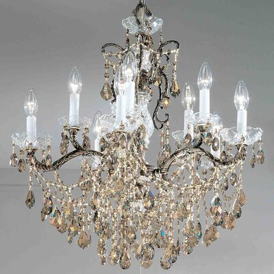 Madrid Imperial 10-Light Crystal Chandelier Crystal Type: Crystalique Golden Teak, Finish: Roman Bronze