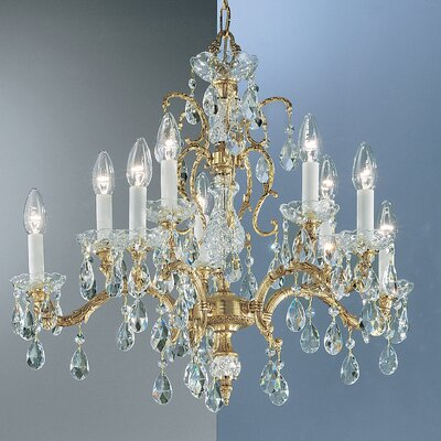Madrid 10-Light Crystal Chandelier Finish: Olde World Bronze, Crystal Type: Prisms Amber