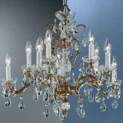 Madrid 10-Light Crystal Chandelier Finish: Roman Bronze, Crystal Type: Prisms Amber