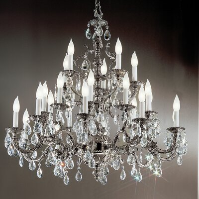 Barcelona 25-Light Crystal Chandelier Finish: Millenium Silver, Crystal Type: Italian