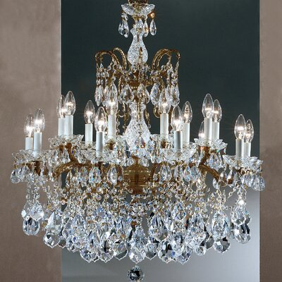 Madrid Imperial 18-Light Crystal Chandelier Finish: Roman Bronze, Crystal Type: Crystalique Golden Teak