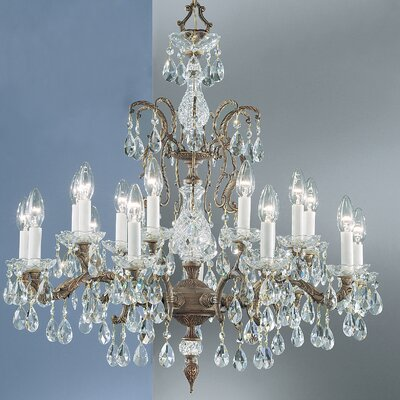 Madrid 18-Light Crystal Chandelier Finish: Olde World Bronze, Crystal Type: Prisms Amber