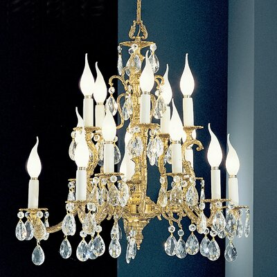 Barcelona 15-Light Crystal Chandelier Crystal Type: Italian, Finish: Olde World Bronze