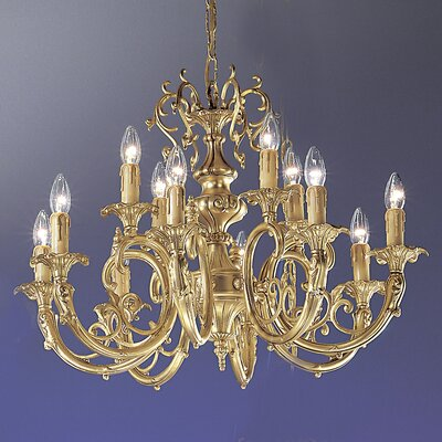 Princeton 12-Light Candle-Style Chandelier Crystal Type: Without Crystal, Finish: Satin Bronze