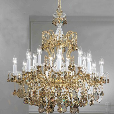 Madrid Imperial 18-Light Crystal Chandelier Crystal Type: Crystalique Golden Teak, Finish: Olde World Bronze