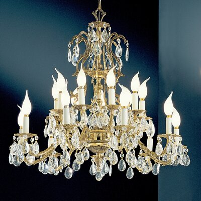 Barcelona 18-Light Crystal Chandelier Finish: Olde World Bronze, Crystal Type: Italian