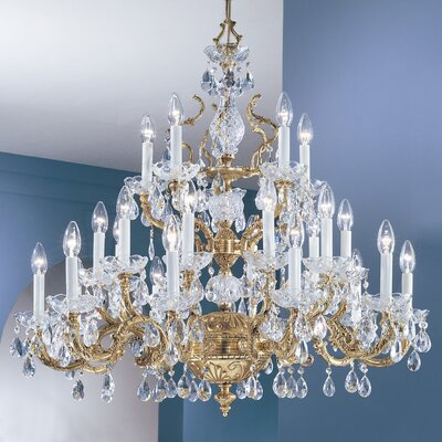 Madrid 25-Light Crystal Chandelier Crystal Type: Crystalique Golden Teak, Finish: Roman Bronze