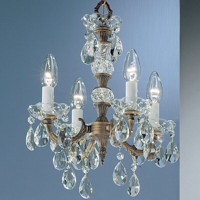 Madrid 4-Light Crystal Chandelier Crystal Type: Prisms Amber, Finish: Roman Bronze
