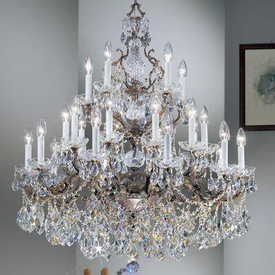 Madrid Imperial 21-Light Crystal Chandelier Crystal Type: Crystalique Golden Teak, Finish: Roman Bronze