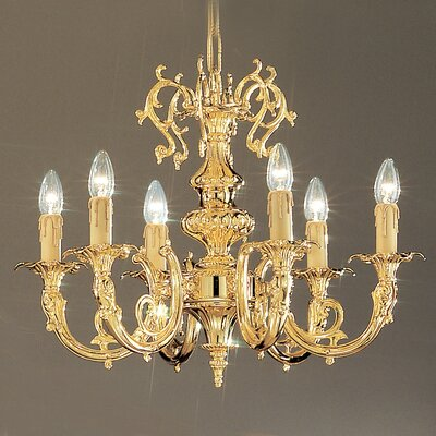Princeton 6-Light Candle-Style Chandelier Finish: 24K Gold Plate, Crystal Type: Without Crystal
