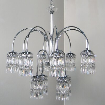Cascade 8-Light Crystal Chandelier Crystal Type: Rose, Finish: English Bronze with Gold