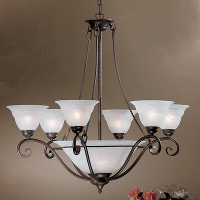 Lugano 9-Light Shaded Chandelier Finish: Bronze
