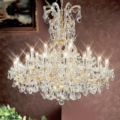 Maria Thersea 25-Light Crystal Chandelier Finish: Olde World Gold, Crystal Type: Crystalique