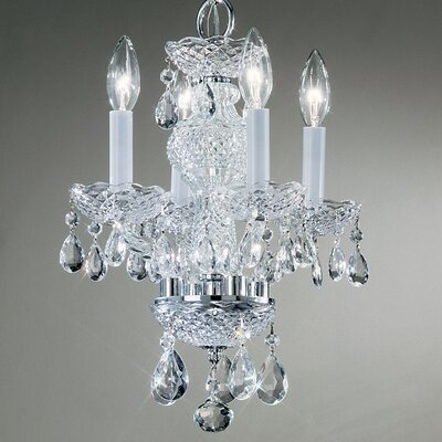 Monticello 4-Light Crystal Chandelier Finish: Gold Plated