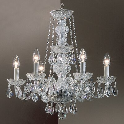 Monticello 6-Light Crystal Chandelier Finish: Gold Plated