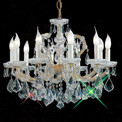 Maria Thersea 10-Light Crystal Chandelier Crystal Type: Swarovski Elements, Finish: Olde World Gold