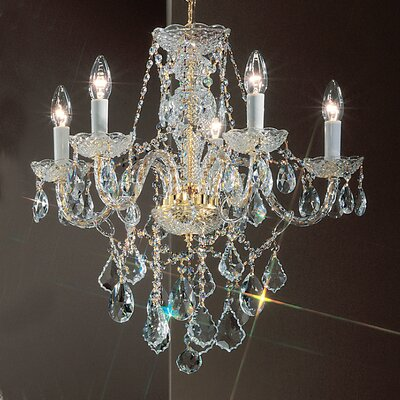 Monticello 5-Light Crystal Chandelier Finish: Gold Plated, Crystal Trim: Crystalique