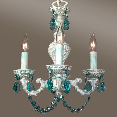 Gabrielle Color 4-Light Crystal Chandelier Finish: Green over Antique White, Crystal Type: Crystalique Antique Green