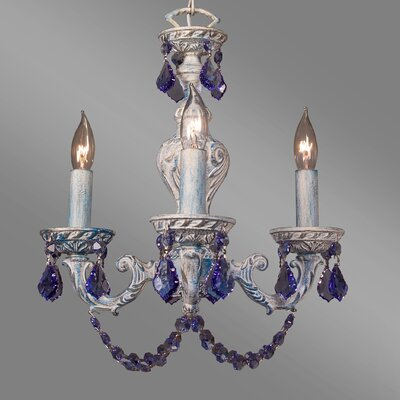 Gabrielle Color 4-Light Crystal Chandelier Finish: Blue over Antique White, Crystal Type: Crystalique Sapphire