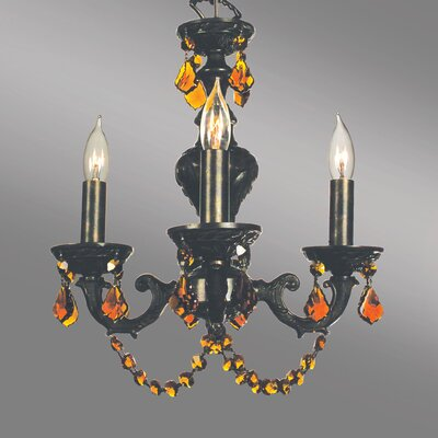 Gabrielle Color 4-Light Crystal Chandelier Crystal Type: Crystalique Amber, Finish: English Bronze