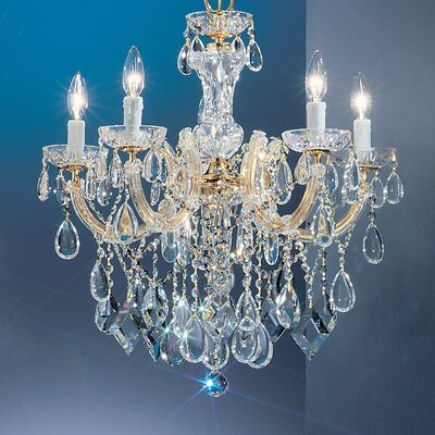 Rialto 5-Light Crystal Chandelier Finish: Gold Plated