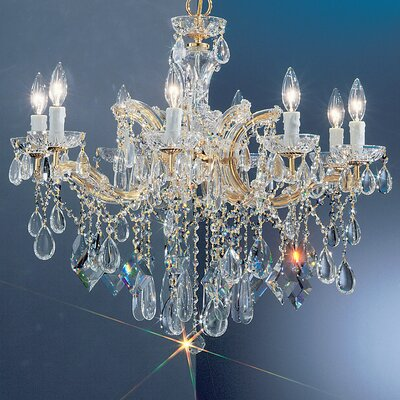 Rialto 8-Light Crystal Chandelier Finish: Gold Plated