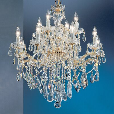 Rialto 12-Light Crystal Chandelier Finish: Gold Plated