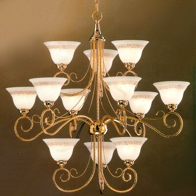 Torino 12-Light Shaded Chandelier Finish: Gold