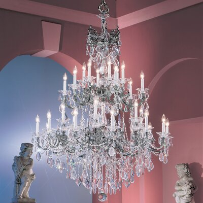 Via Venteo 30-Light Crystal Chandelier Crystal Type: Crystalique Golden Teak, Finish: Millenium Silver