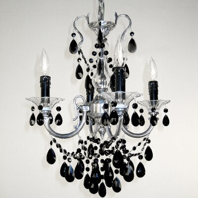 Via Venteo 4-Light Crystal Chandelier Finish: Millenium Silver, Crystal Type: Crystalique Black