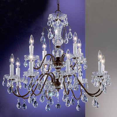 Daniele 12-Light Crystal Chandelier Finish: English Bronze