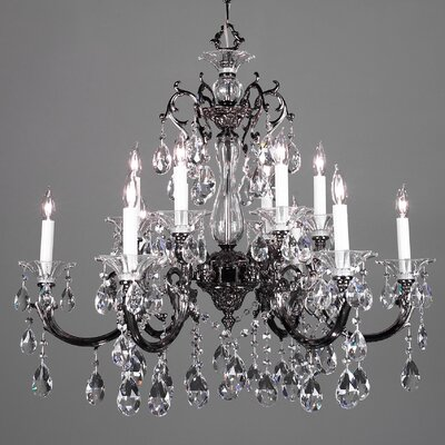 Via Lombardi 12-Light Crystal Chandelier Finish: Roman Bronze, Crystal Type: Crystalique Black
