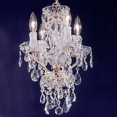 Daniele 4-Light Crystal Chandelier Crystal Type: Swarovski Elements, Finish: Gold Plated