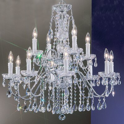 Letitia 12-Light Chain Shaded Crystal Chandelier Finish: Chrome, Crystal Type: Swarovski Spectra