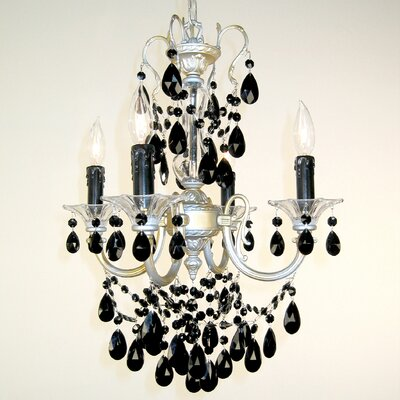 Via Venteo 4-Light Crystal Chandelier Finish: Champagne Pearl, Crystal Type: Crystalique Black