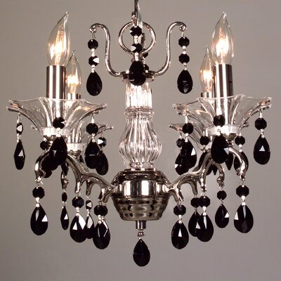 Garden of Versailles 4-Light Crystal Chandelier Finish: Chrome, Crystal Type: Crystalique Black